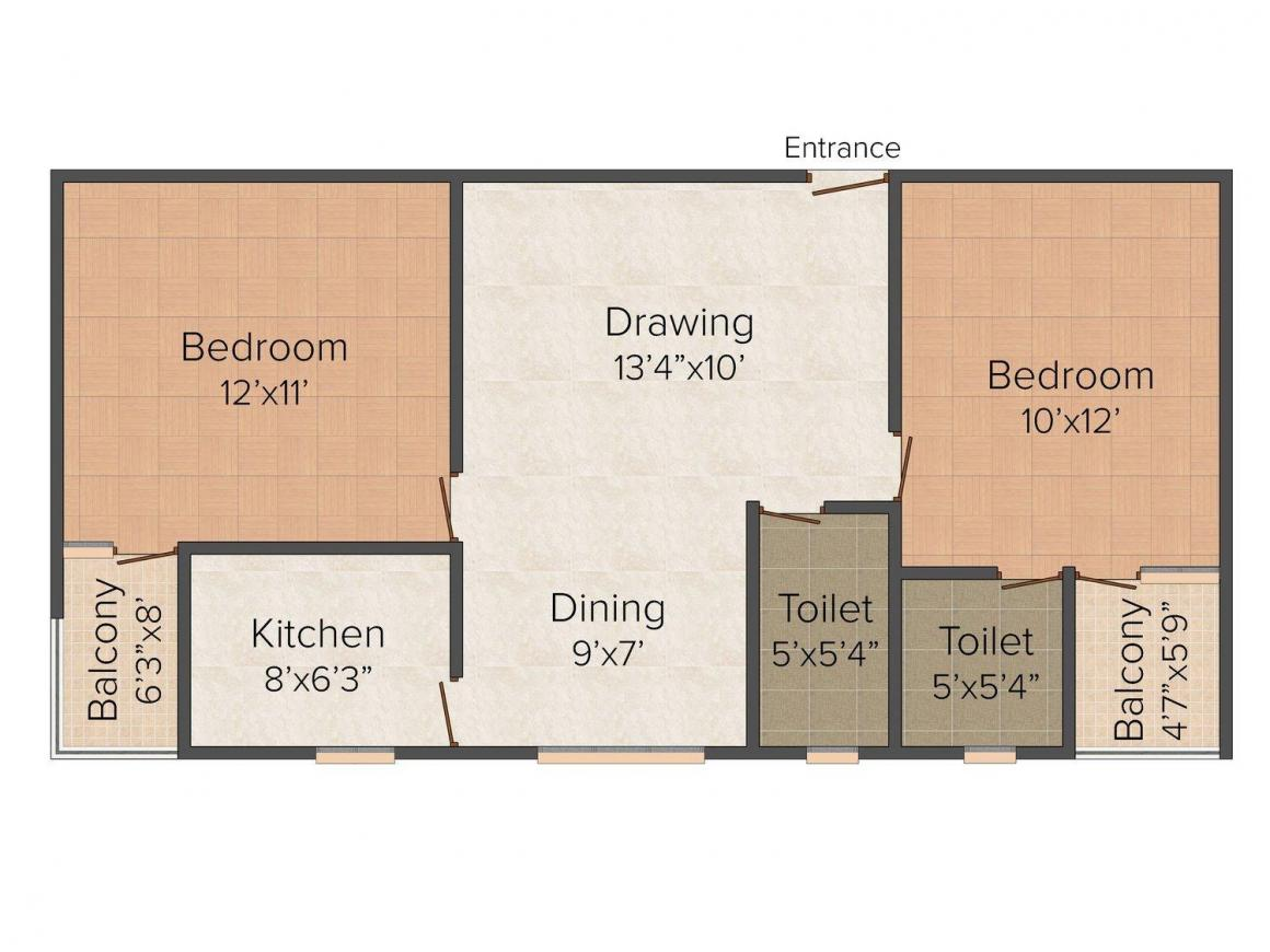 Kanishka Vidyanand Maheswari Complex Floor Plan: 2 BHK Unit with Built up area of 995 sq.ft 1