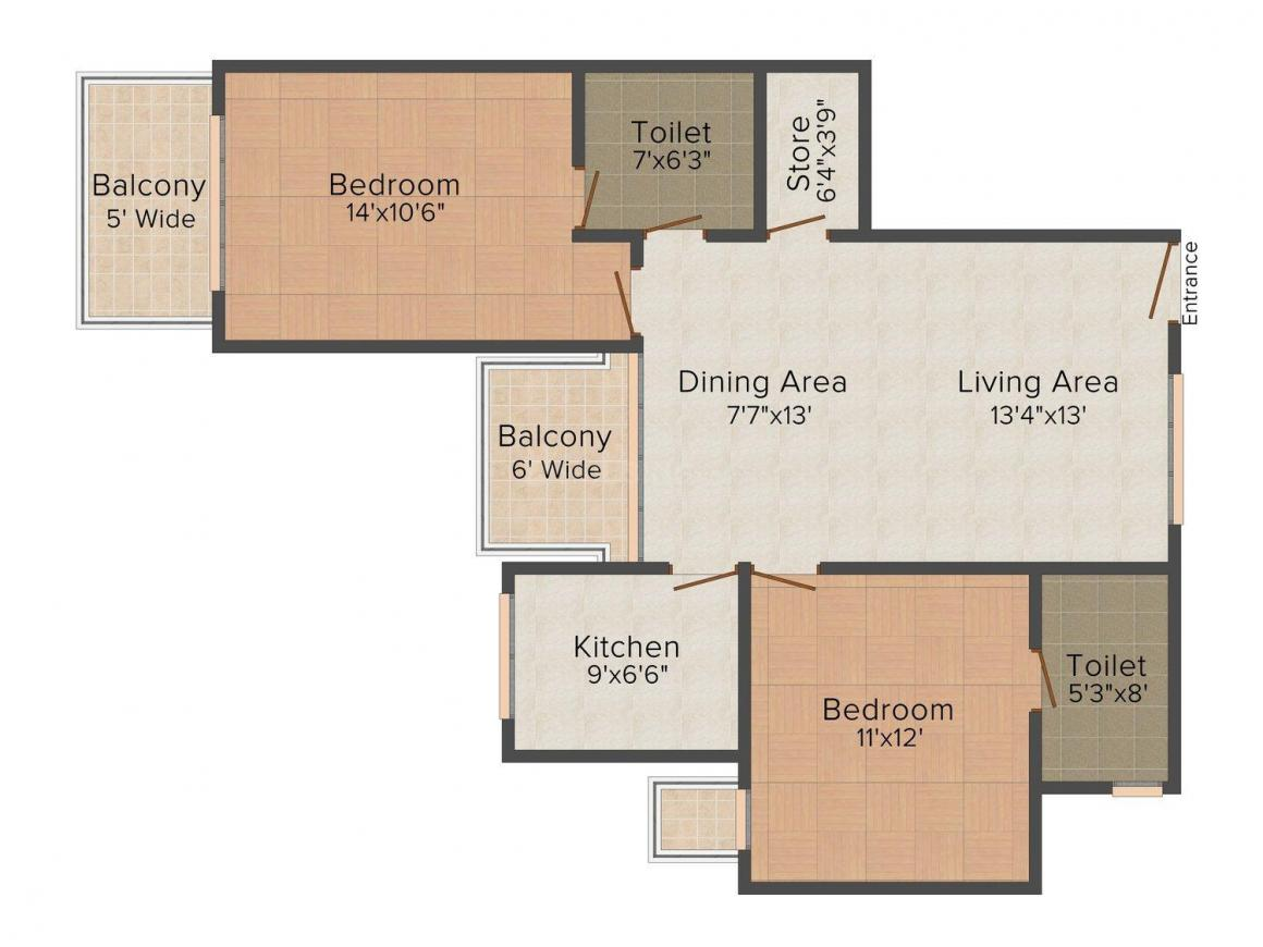 Ruhil Residency Floor Plan: 2 BHK Unit with Built up area of 1240 sq.ft 1