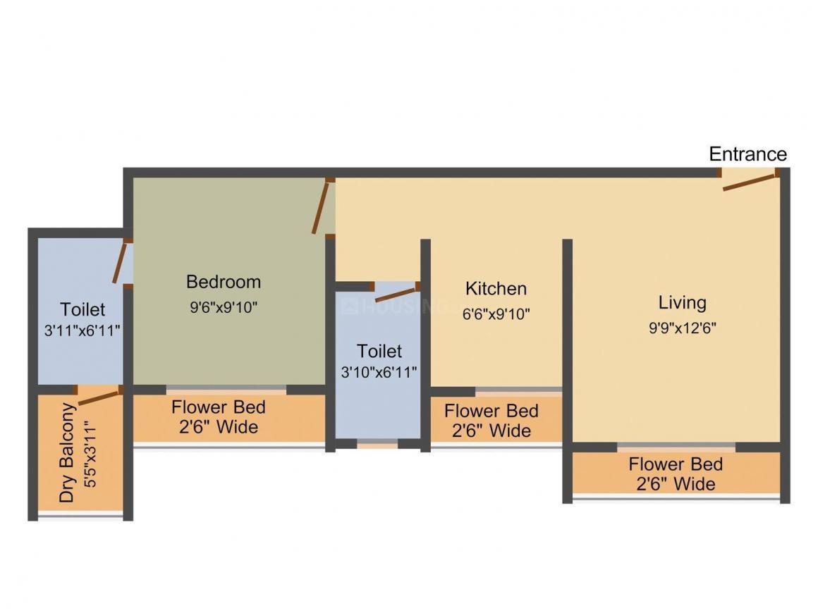 Floor Plan Image of 627.0 - 925.0 Sq.ft 1 BHK Apartment for buy in SD Bhalerao Prakash