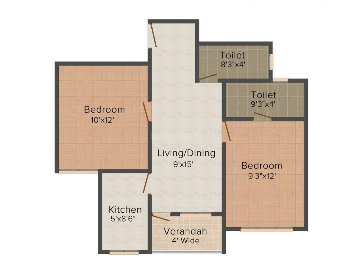 Floor Plan Image of 855.0 - 1587.0 Sq.ft 2 BHK Apartment for buy in SY Tatini