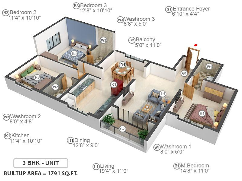 Casagrand Northern Star Floor Plan: 3 BHK Unit with Built up area of 1791 sq.ft 1