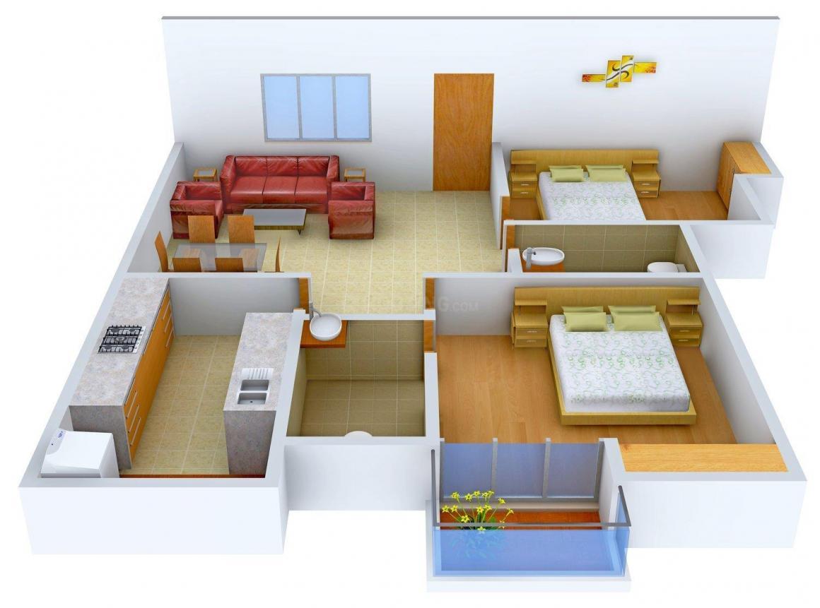 Floor Plan Image of 1057 - 1455 Sq.ft 2 BHK Apartment for buy in Suvastu Princeton Meadows