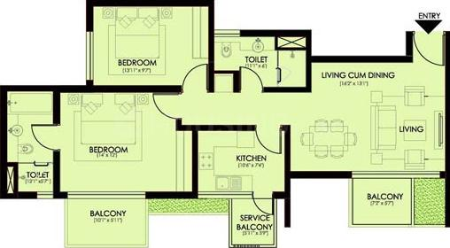 Ireo Victory Valley Floor Plan: 2 BHK Unit with Built up area of 1435 sq.ft 1