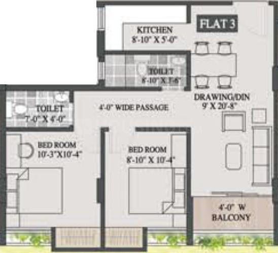 Magnolia Elite Floor Plan: 2 BHK Unit with Built up area of 870 sq.ft 1