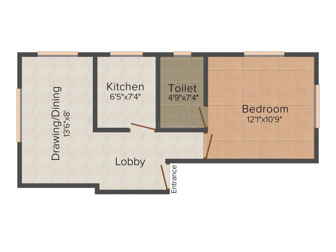 Floor Plan Image of 650.0 - 680.0 Sq.ft 1 BHK Apartment for buy in Anupam 1524 Nayabad