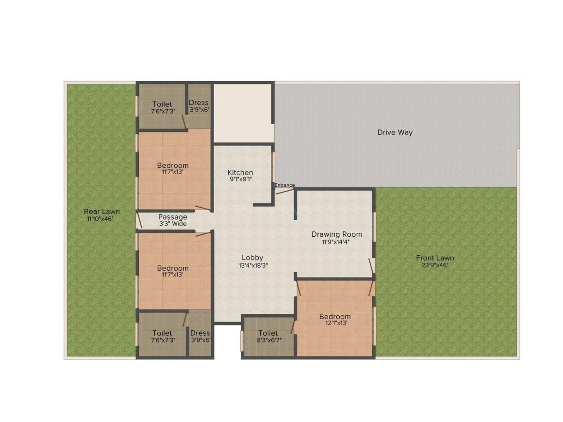 Bunty Floors 5 Floor Plan: 3 BHK Unit with Built up area of 1850 sq.ft 1