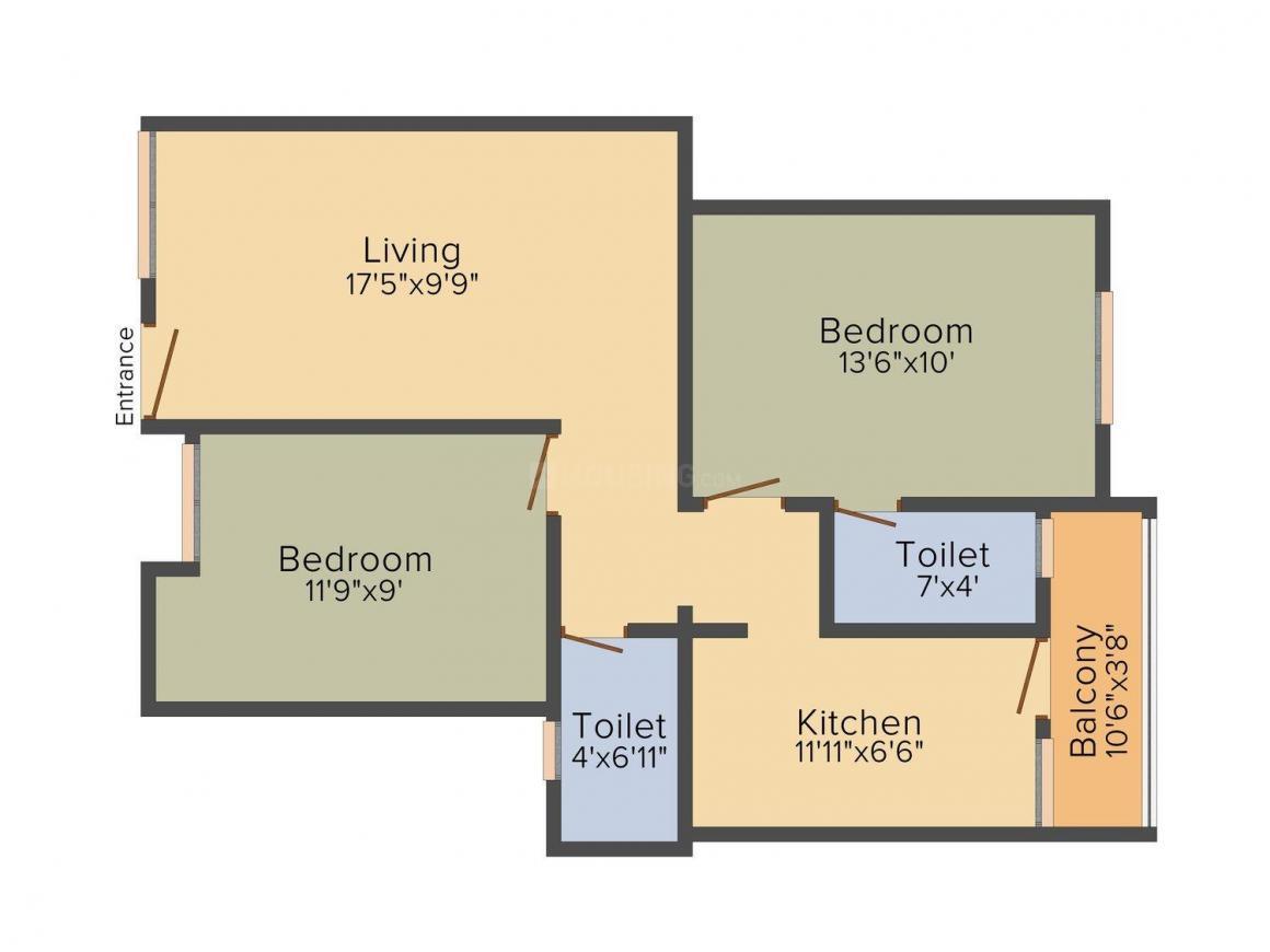 Jayabharat Saravana Flats Floor Plan: 2 BHK Unit with Built up area of 868 sq.ft 1