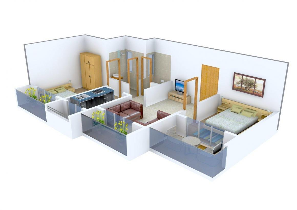 Floor Plan Image of 0 - 580.0 Sq.ft 2 BHK Apartment for buy in SM Riddhi