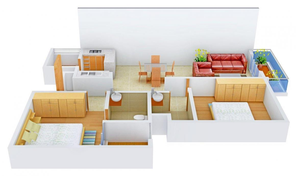 Floor Plan Image of 0 - 1073.0 Sq.ft 2 BHK Apartment for buy in Colombia Peepal Tree