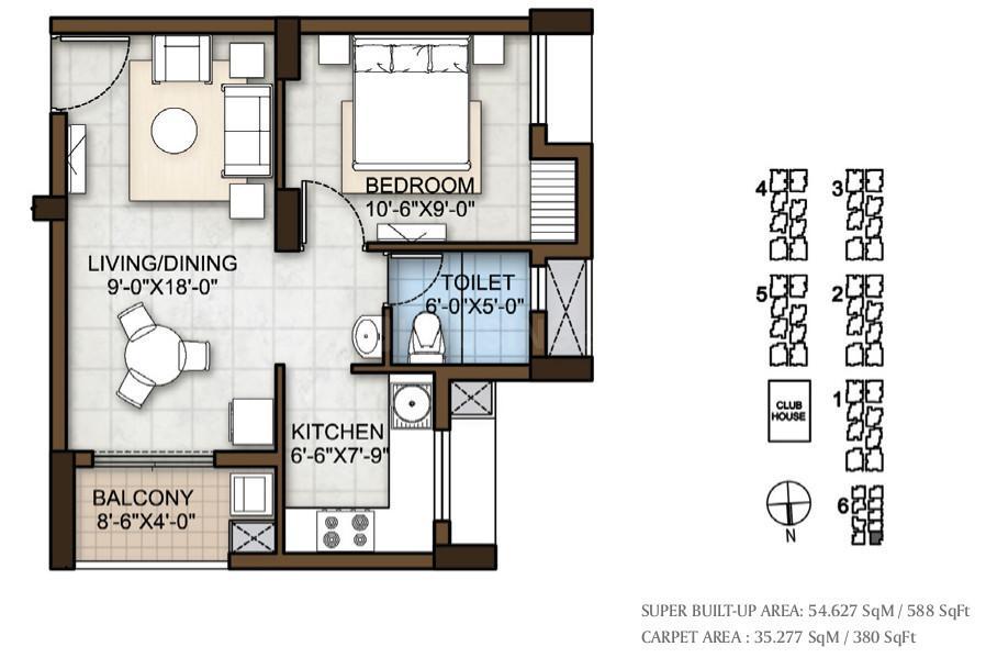 Prestige Windsor Park Floor Plan: 1 BHK Unit with Built up area of 588 sq.ft 1