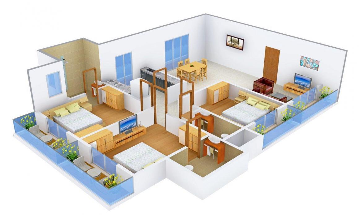 Floor Plan Image of 0 - 1850 Sq.ft 3 BHK Apartment for buy in Chamunda Kanyakumari Heights