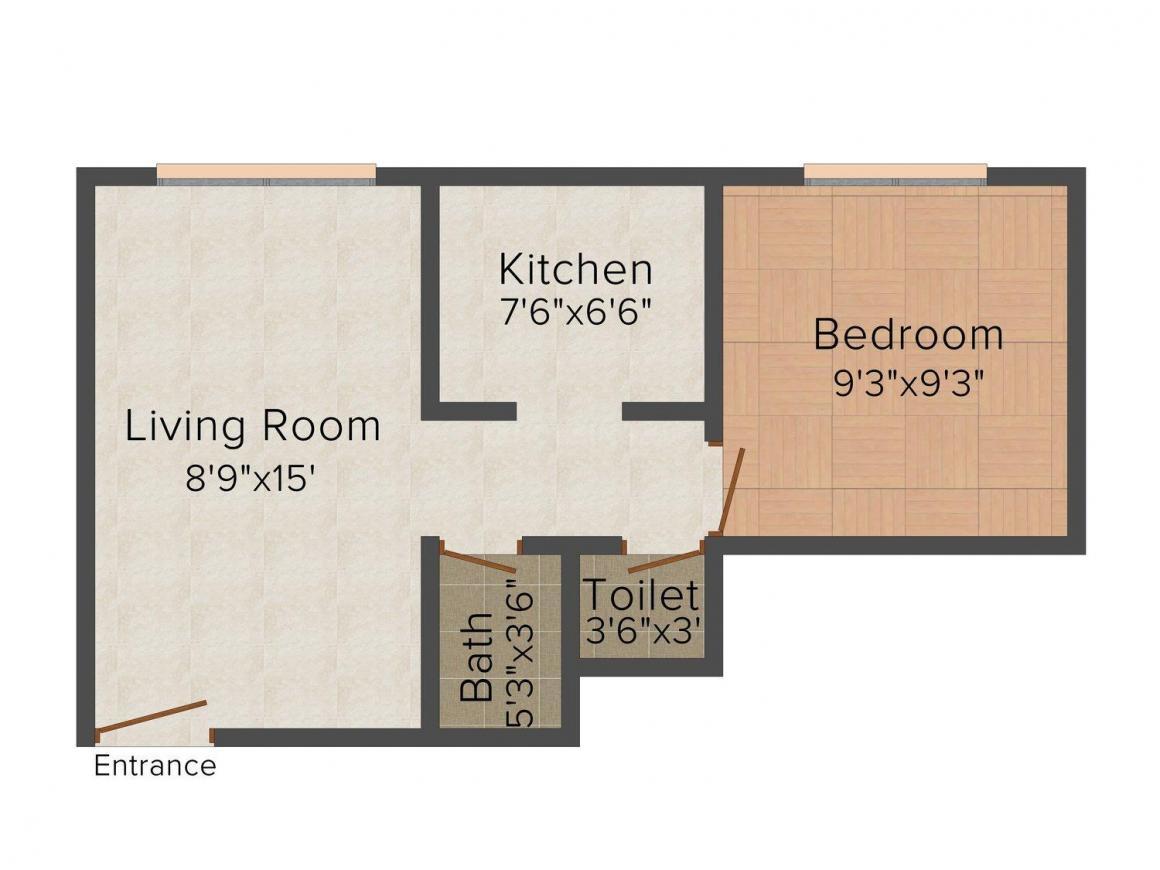 Floor Plan Image of 530.0 - 540.0 Sq.ft 1 BHK Apartment for buy in Shree Radhakrishna Sitaram Krupa