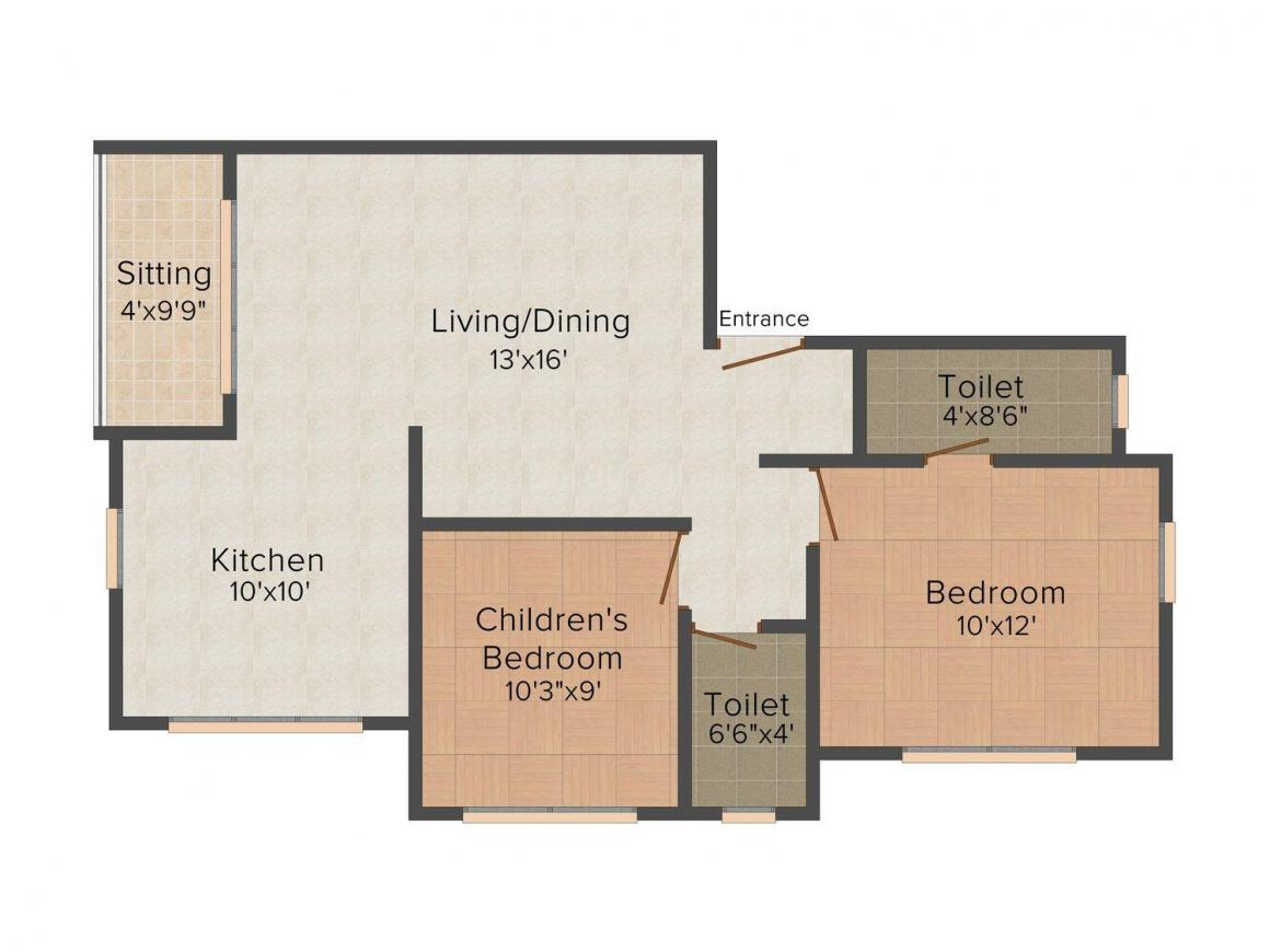 Floor Plan Image of 0 - 942.0 Sq.ft 2 BHK Apartment for buy in Shree Sainath Shree Avenue