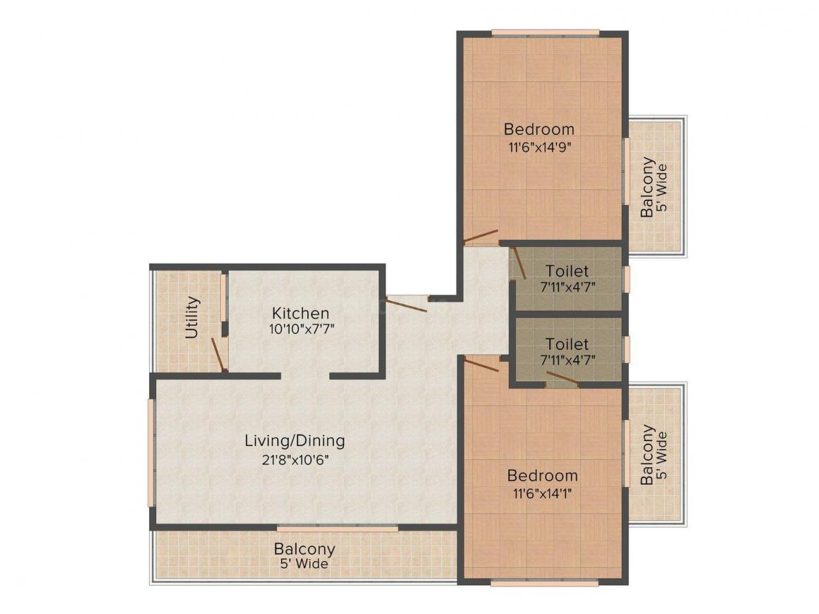Floor Plan Image of 1239.0 - 1335.0 Sq.ft 2 BHK Apartment for buy in Emjay's Sea Towers