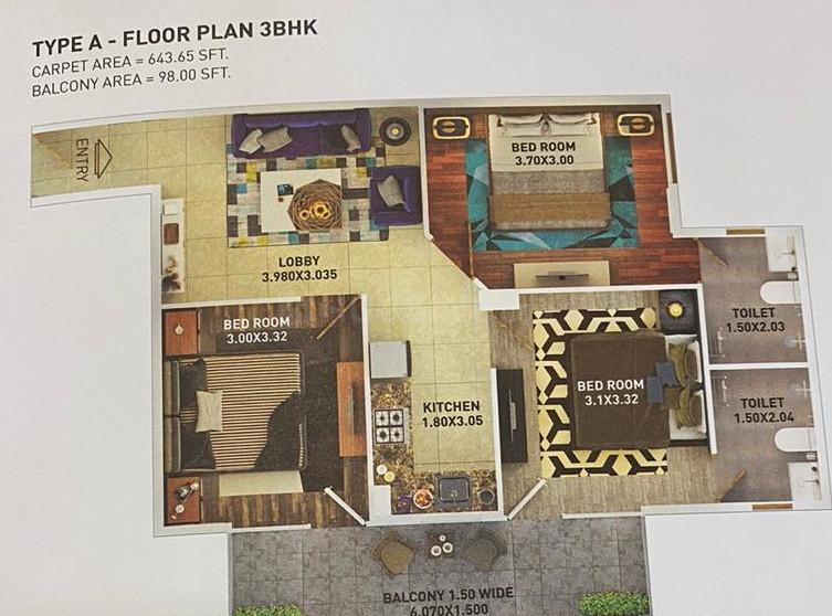 Pyramid Urban Home II Extension Floor Plan: 3 BHK Unit with Built up area of 644 sq.ft 1