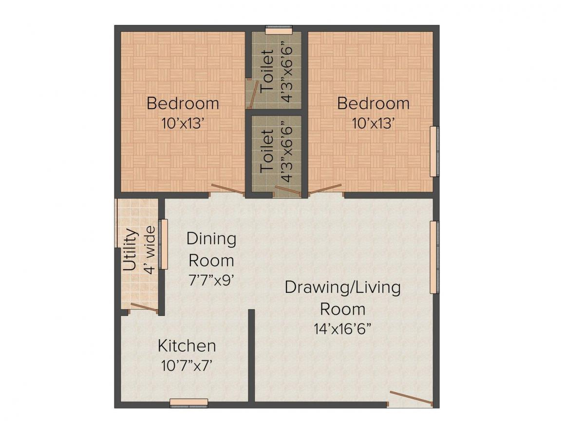 Meda V. Y. Devyander Arcade Floor Plan: 2 BHK Unit with Built up area of 1050 sq.ft 1