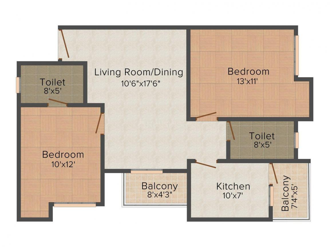 Floor Plan Image of 920 - 2727 Sq.ft 2 BHK Apartment for buy in Mahima Nirvana
