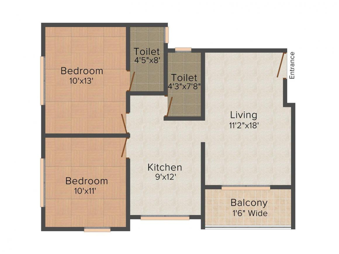 Floor Plan Image of 0 - 936 Sq.ft 2 BHK Apartment for buy in Disha Atharva Nandanvan