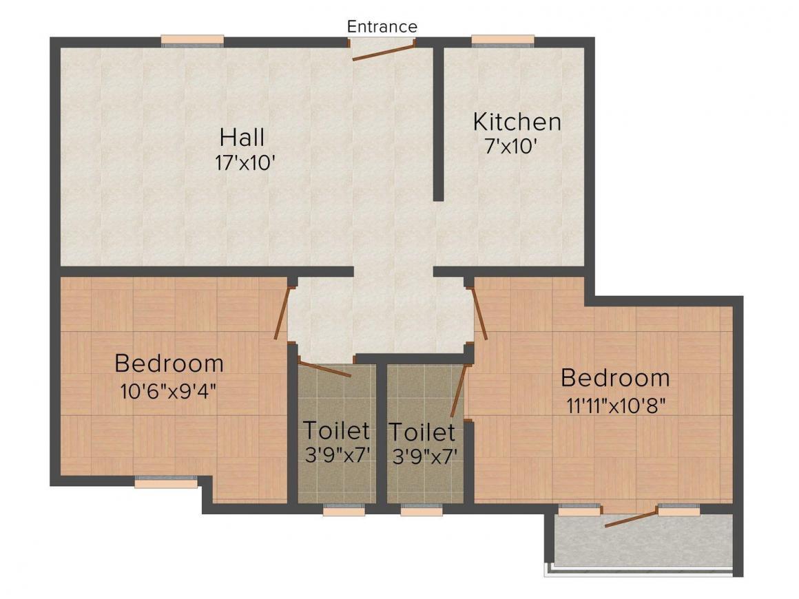 Floor Plan Image of 807 - 842 Sq.ft 2 BHK Independent Floor for buy in Sanjeevram Jasmine