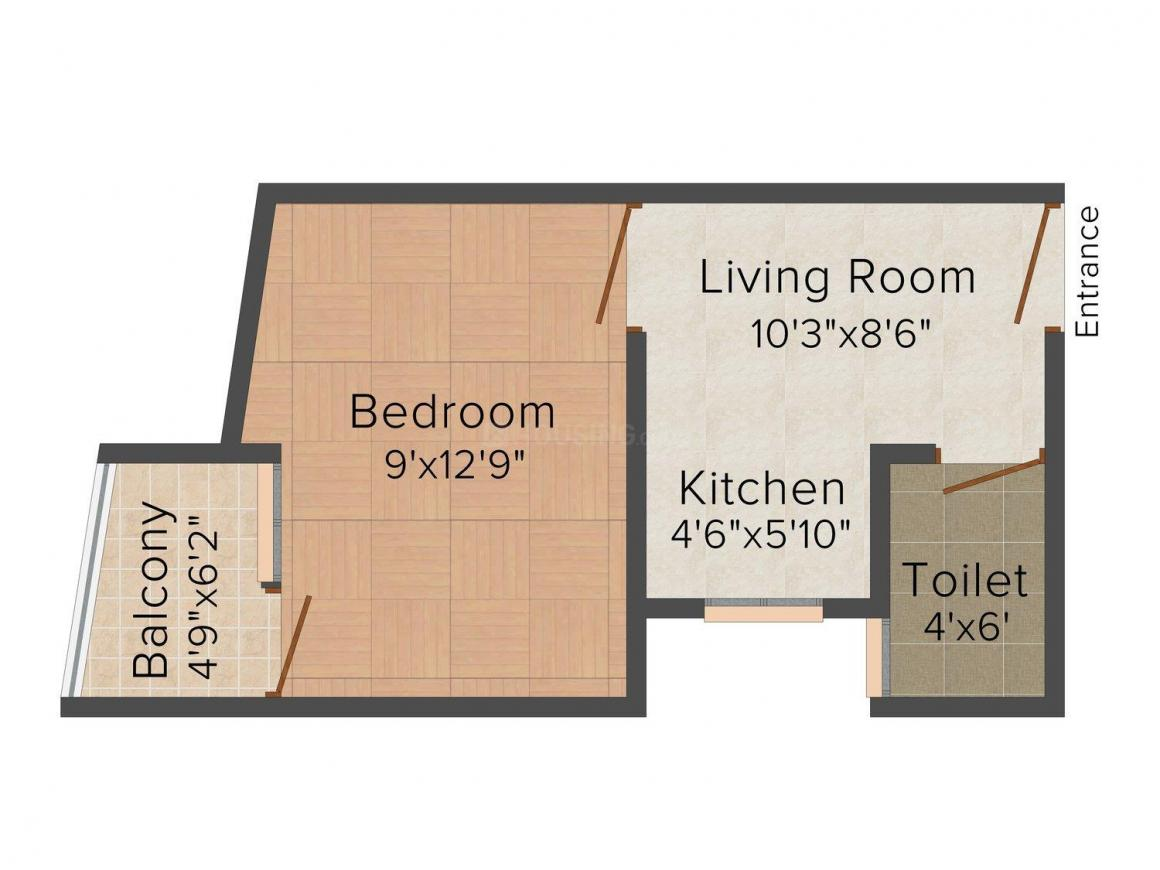 Floor Plan Image of 0 - 400.0 Sq.ft 1 BHK Independent Floor for buy in 121 Home Mandir Apartment