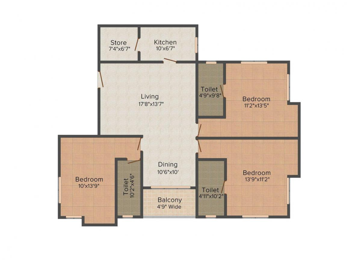 Floor Plan Image of 852.0 - 2135.0 Sq.ft 2 BHK Apartment for buy in Pyramid Spaciana