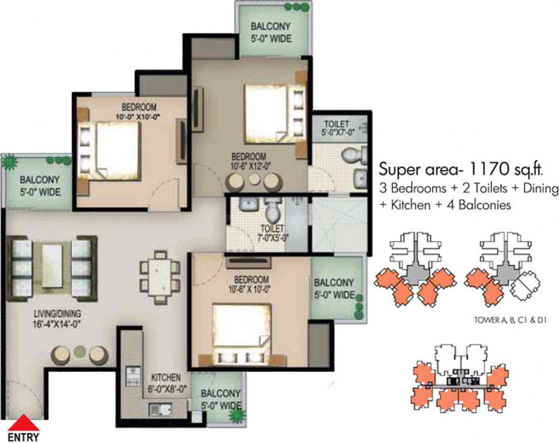 Pigeon Spring Meadows Floor Plan: 3 BHK Unit with Built up area of 1170 sq.ft 1