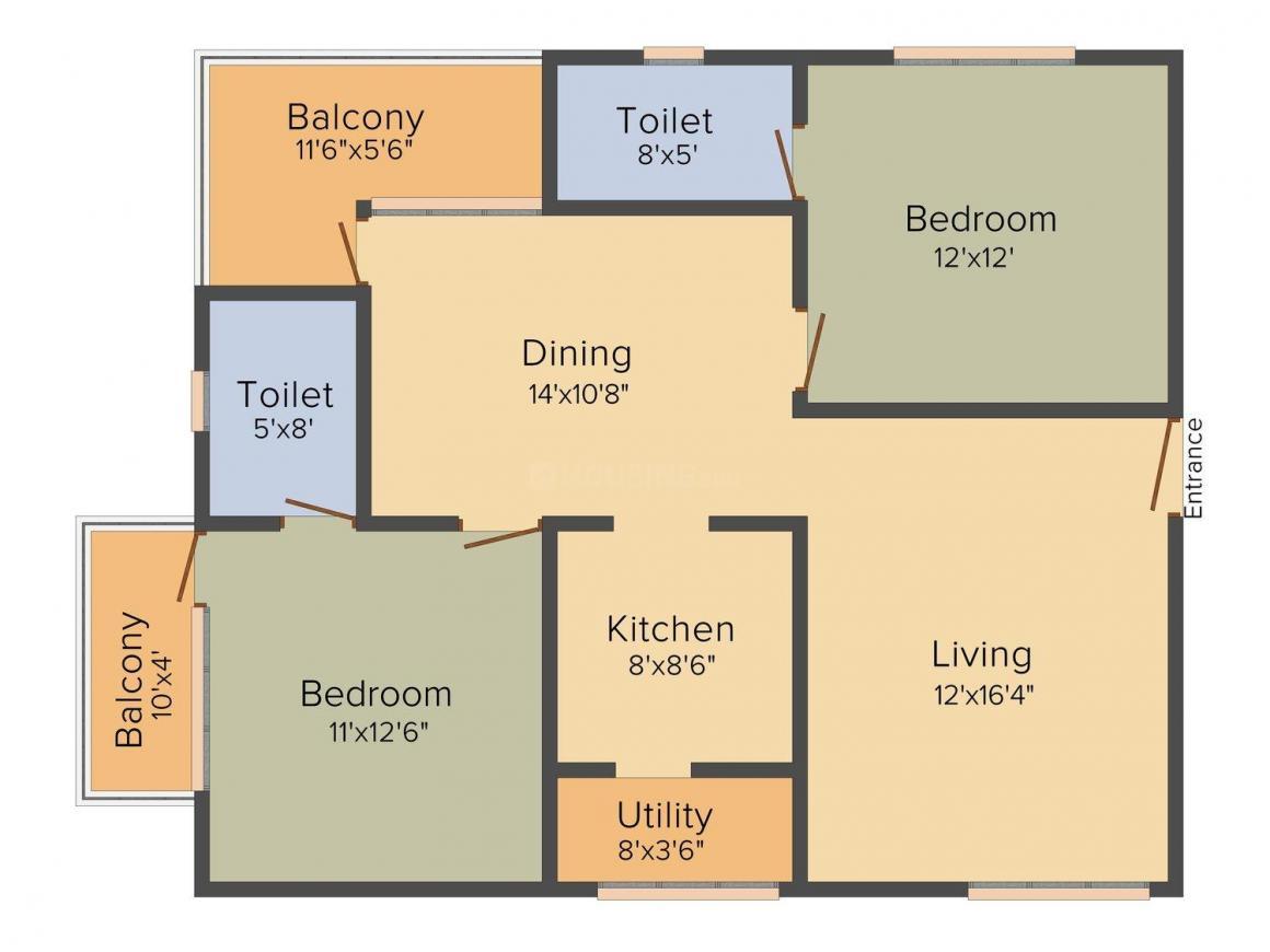 Floor Plan Image of 1100.0 - 1595.0 Sq.ft 2 BHK Apartment for buy in Adithya Elixir