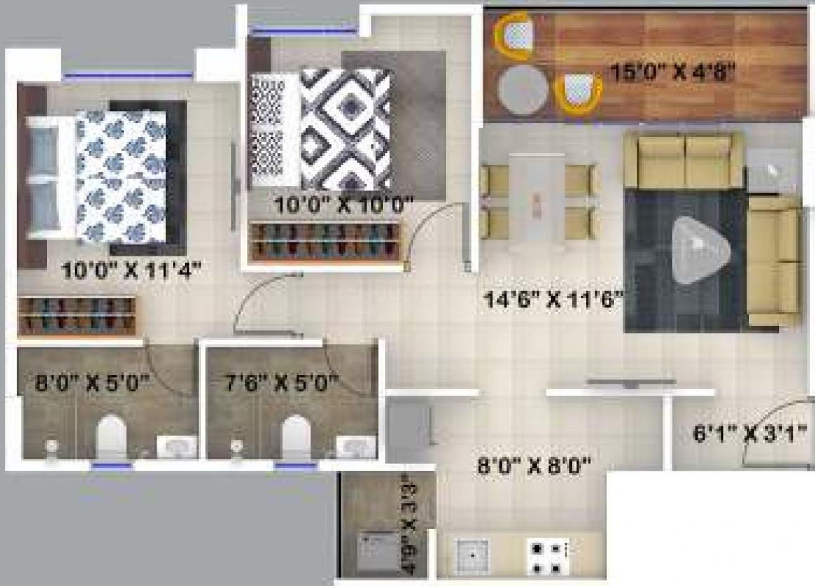Kumar Primrose C Building Floor Plan: 2 BHK Unit with Built up area of 623 sq.ft 1