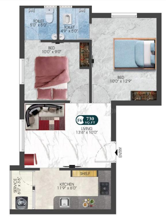 DAC Anjani And Sanjani Floor Plan: 2 BHK Unit with Built up area of 730 sq.ft 1
