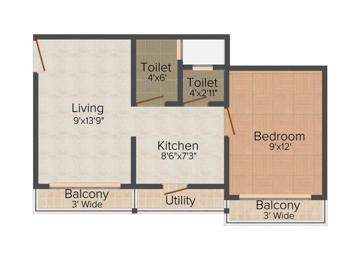 Aaditya Viva Vindyaigiri Floor Plan: 1 BHK Unit with Built up area of 387 sq.ft 1