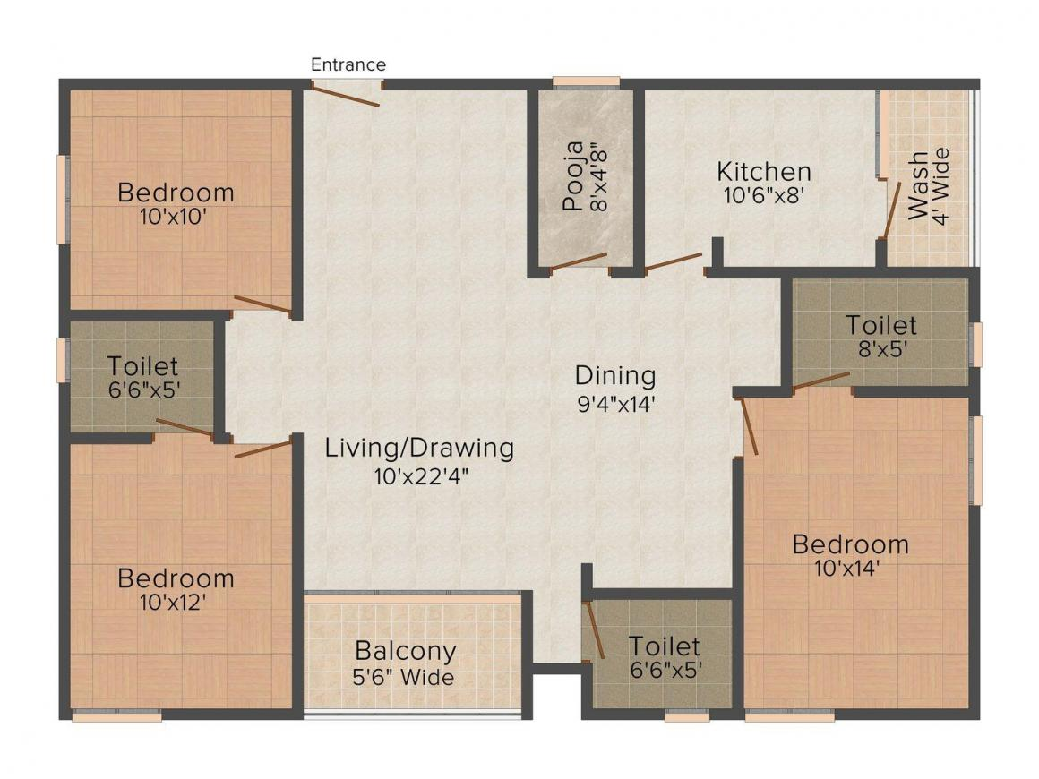 Floor Plan Image of 986.0 - 1434.0 Sq.ft 2 BHK Apartment for buy in Suavity Amuulya