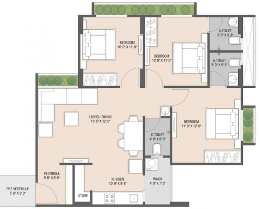 The Skylark Floor Plan: 3 BHK Unit with Built up area of 729 sq.ft 1