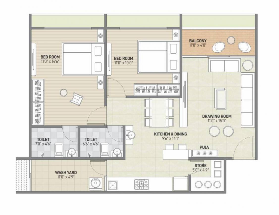 Rudram Skyvue Floor Plan: 2 BHK Unit with Built up area of 696 sq.ft 1