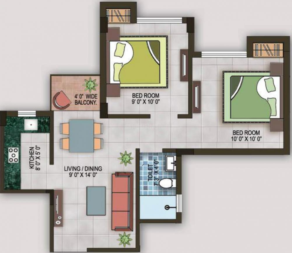 Magnolia Sports City Floor Plan: 2 BHK Unit with Built up area of 670 sq.ft 2