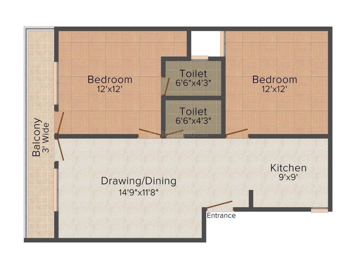 Laxmi Homes - 315 Floor Plan: 2 BHK Unit with Built up area of 800 sq.ft 1