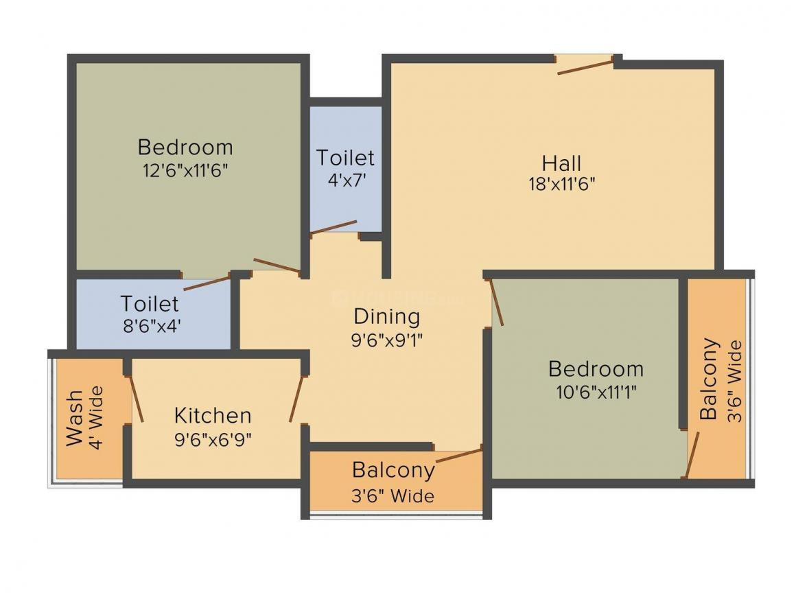 Janani Tulips Floor Plan: 2 BHK Unit with Built up area of 1175 sq.ft 1