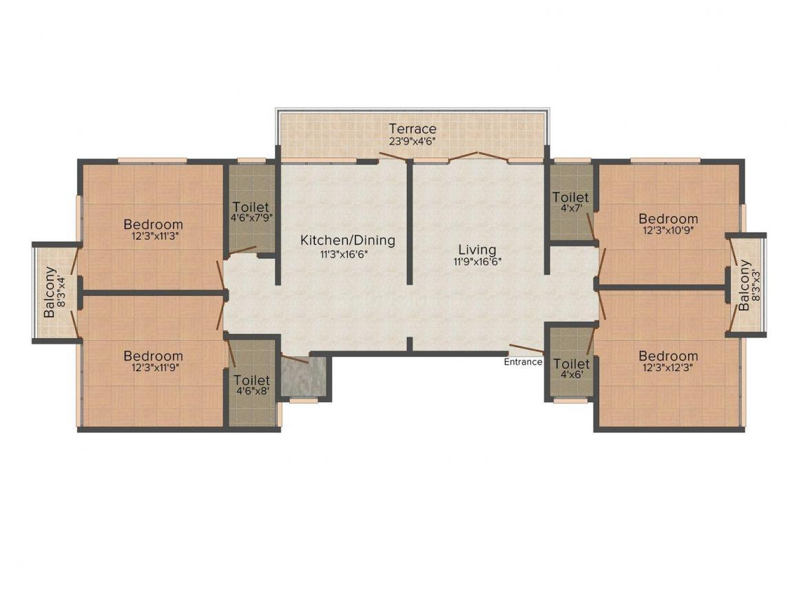 Floor Plan Image of 1602.0 - 1663.0 Sq.ft 4 BHK Apartment for buy in Suhit Suruchi Apartment