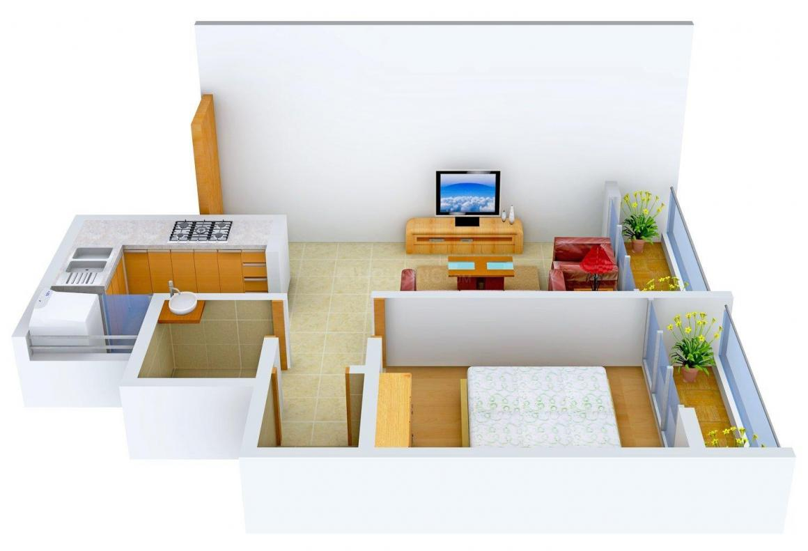 Floor Plan Image of 0 - 575.0 Sq.ft 1 BHK Apartment for buy in Om Vatsalya