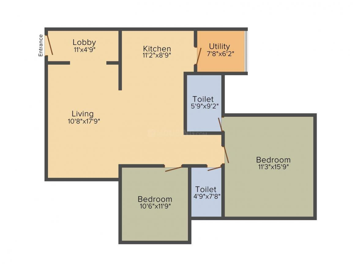 Floor Plan Image of 1400 - 1413 Sq.ft 2 BHK Apartment for buy in Concorde Midway City
