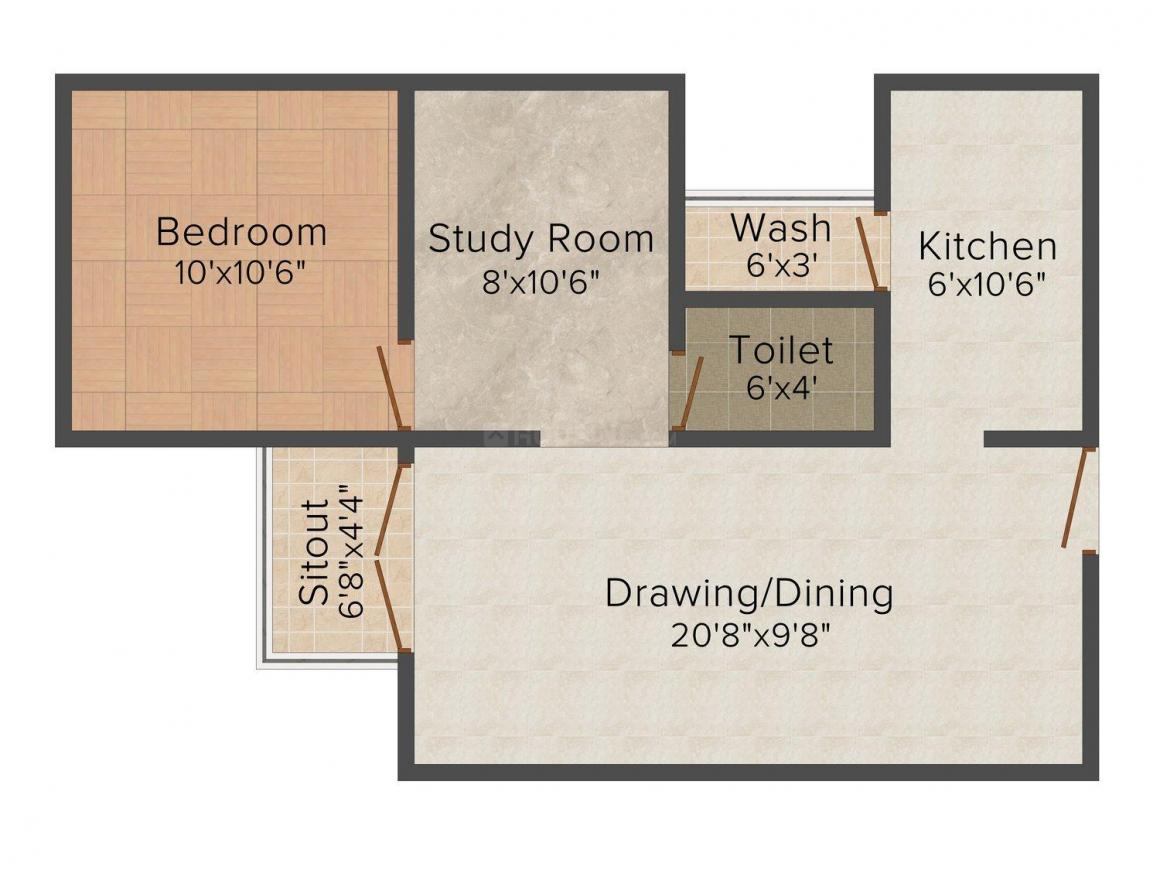 Floor Plan Image of 823 - 1565 Sq.ft 1 BHK Apartment for buy in Maa Kanha Heights