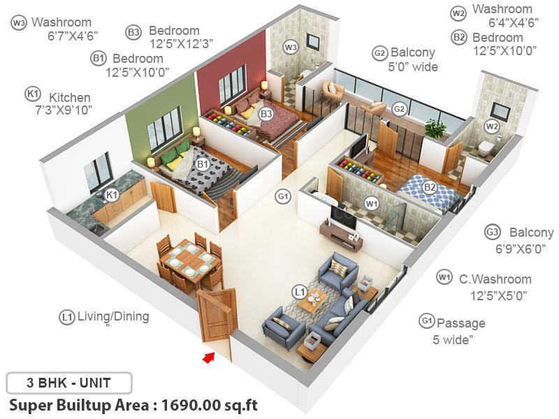 S M Gulmohar Heights Floor Plan: 3 BHK Unit with Built up area of 1690 sq.ft 1