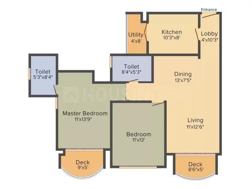 Tata Aveza Phase 2 Floor Plan: 2 BHK Unit with Built up area of 661 sq.ft 1