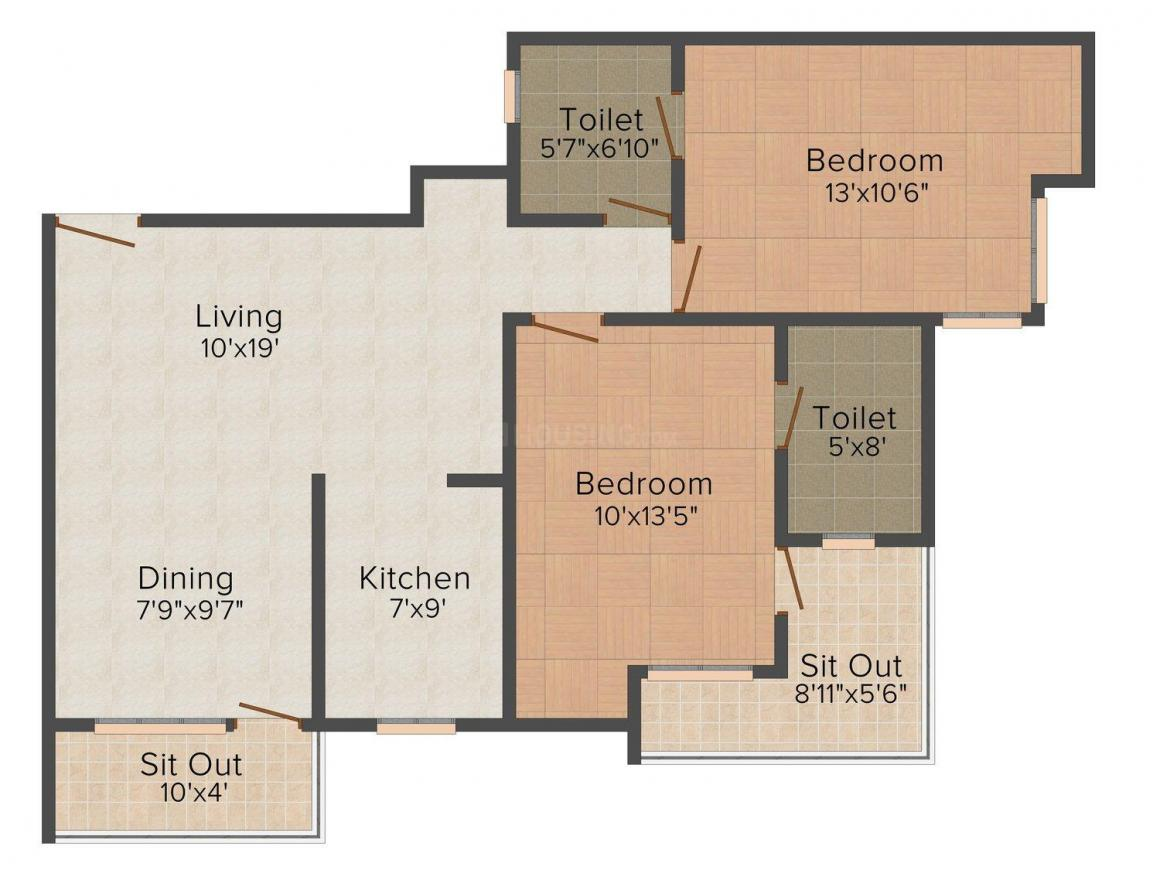 Queen's Apartments(Wrong City) Floor Plan: 2 BHK Unit with Built up area of 1050 sq.ft 1