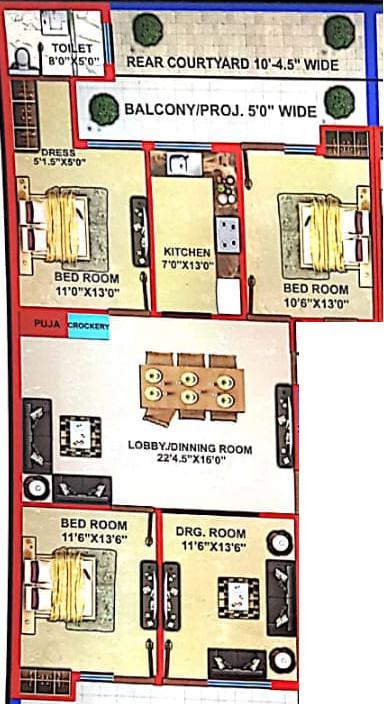 Hare Krishna Developer Krishna Home 6 Floor Plan: 4 BHK Unit with Built up area of 2250 sq.ft 1