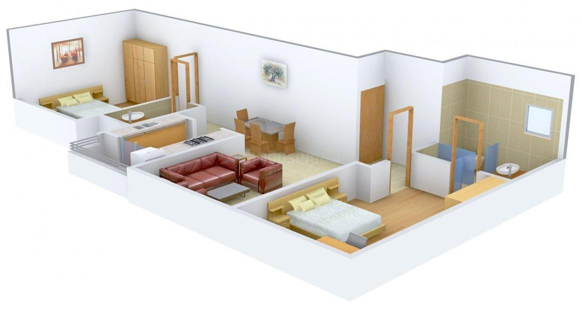 Jaycee Elegance Floor Plan: 2 BHK Unit with Built up area of 1290 sq.ft 1