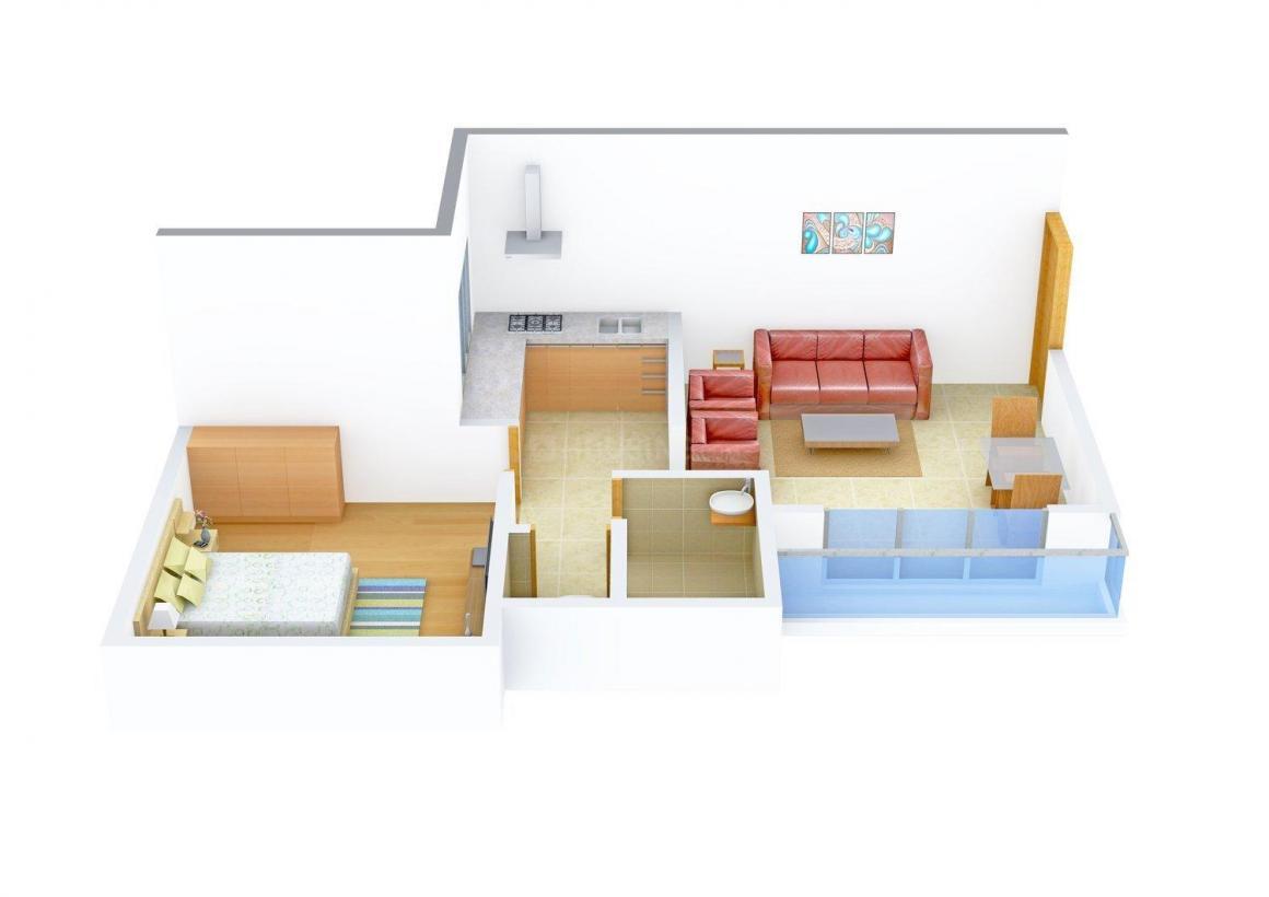 Floor Plan Image of 0 - 545 Sq.ft 1 BHK Apartment for buy in Ekta Residency