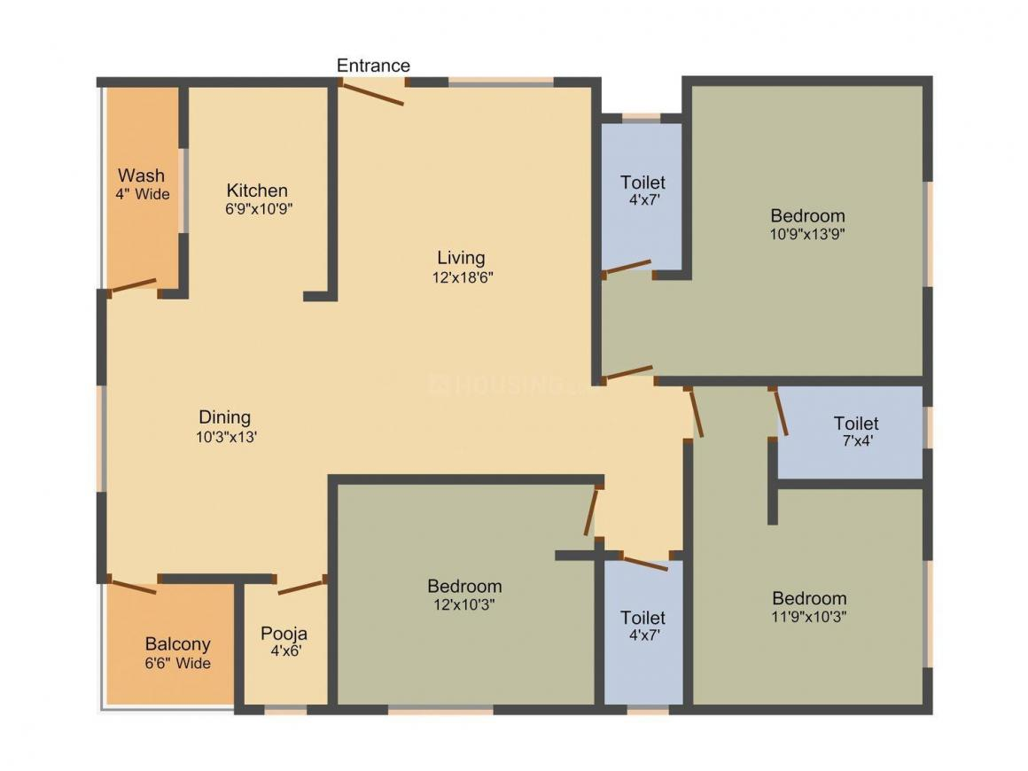 Prem Prem Nest Floor Plan: 3 BHK Unit with Built up area of 1500 sq.ft 1