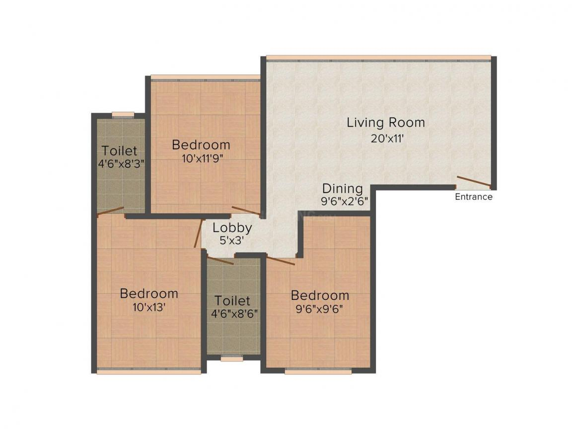 Floor Plan Image of 659 - 894 Sq.ft 3 BHK Apartment for buy in Ossia Elegance
