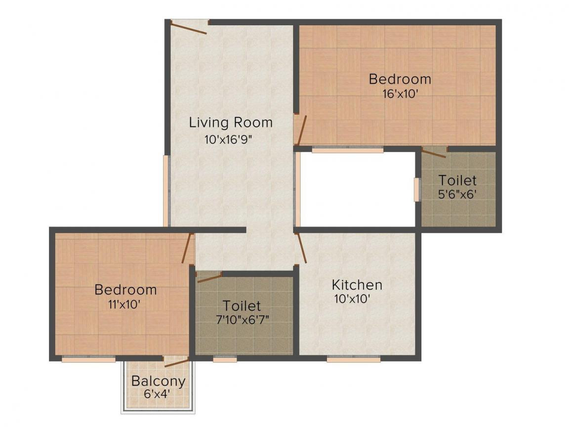 Floor Plan Image of 1111.0 - 1371.0 Sq.ft 2 BHK Apartment for buy in Wallcliffs Airport Residency