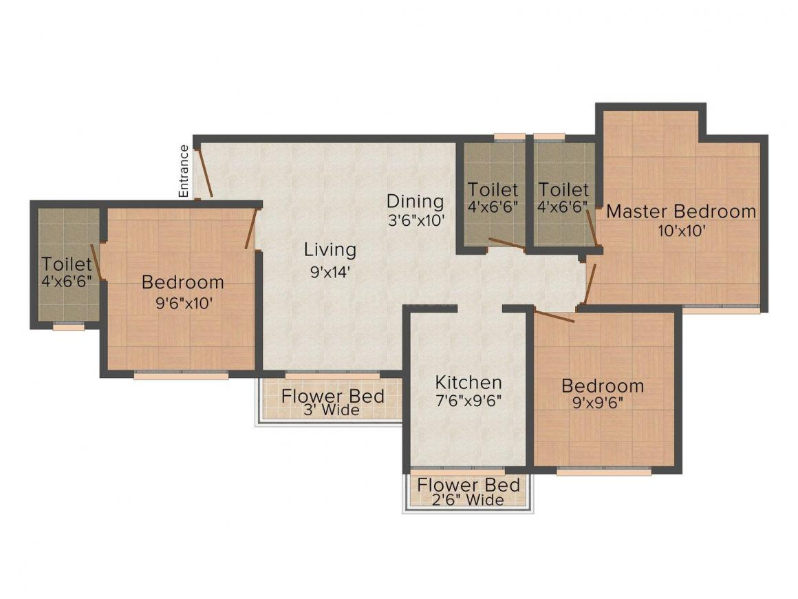Floor Plan Image of 0 - 1340 Sq.ft 3 BHK Apartment for buy in Patsariya Silver State Apartment